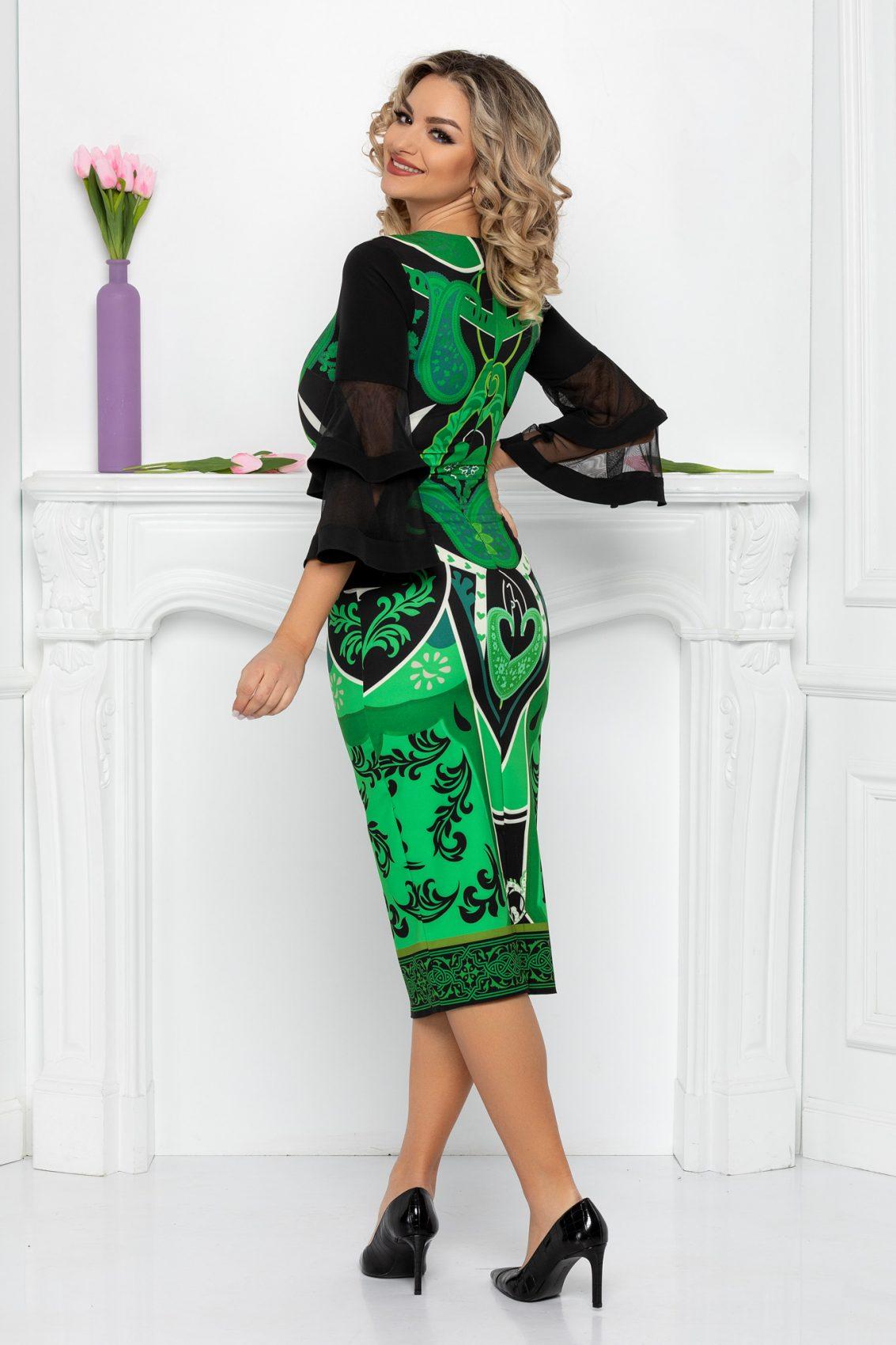 Πράσινο Μίντι Φόρεμα Σε Πένσιλ Γραμμή Eva 9430 2