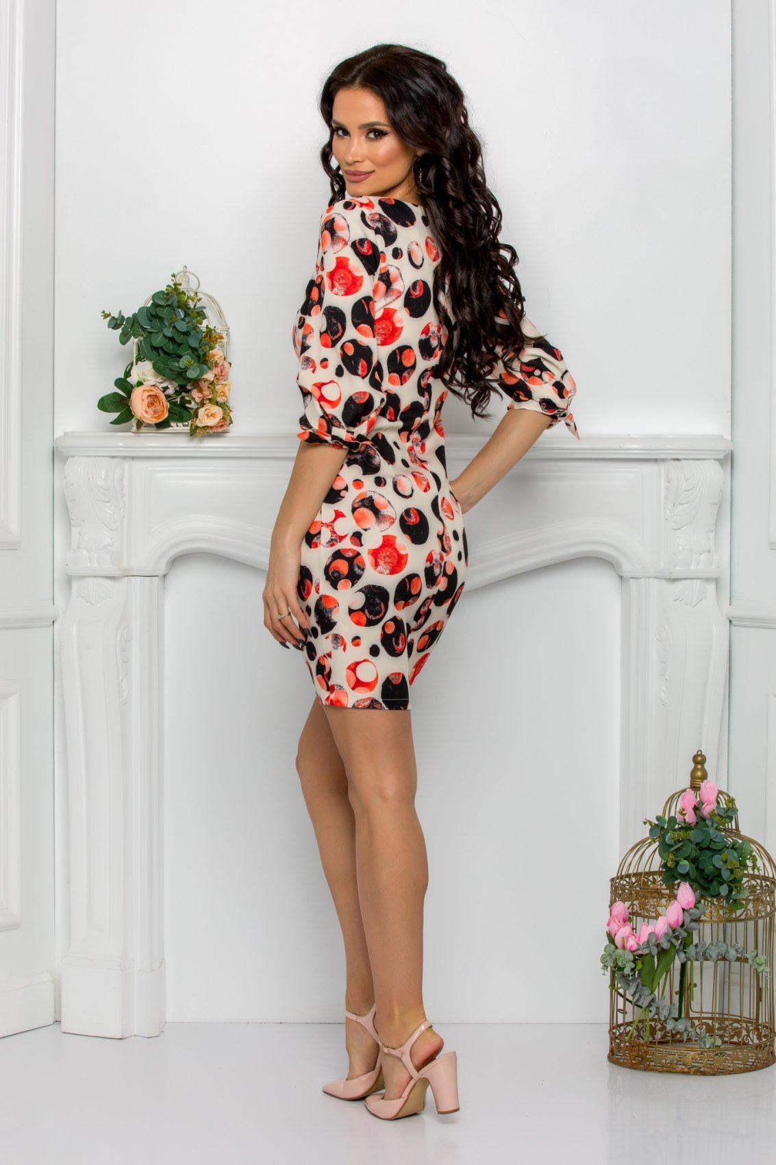 Κοραλί Φόρεμα Gemma 7095 2