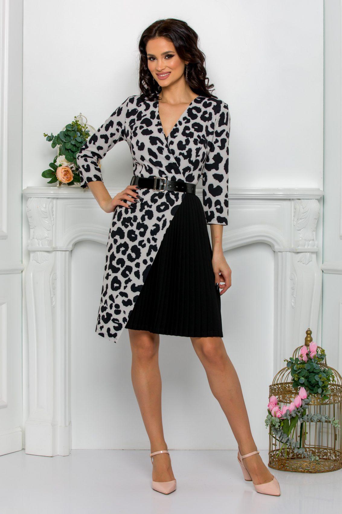Ασπρόμαυρο Κρουαζέ Φόρεμα Jenny 8719 1