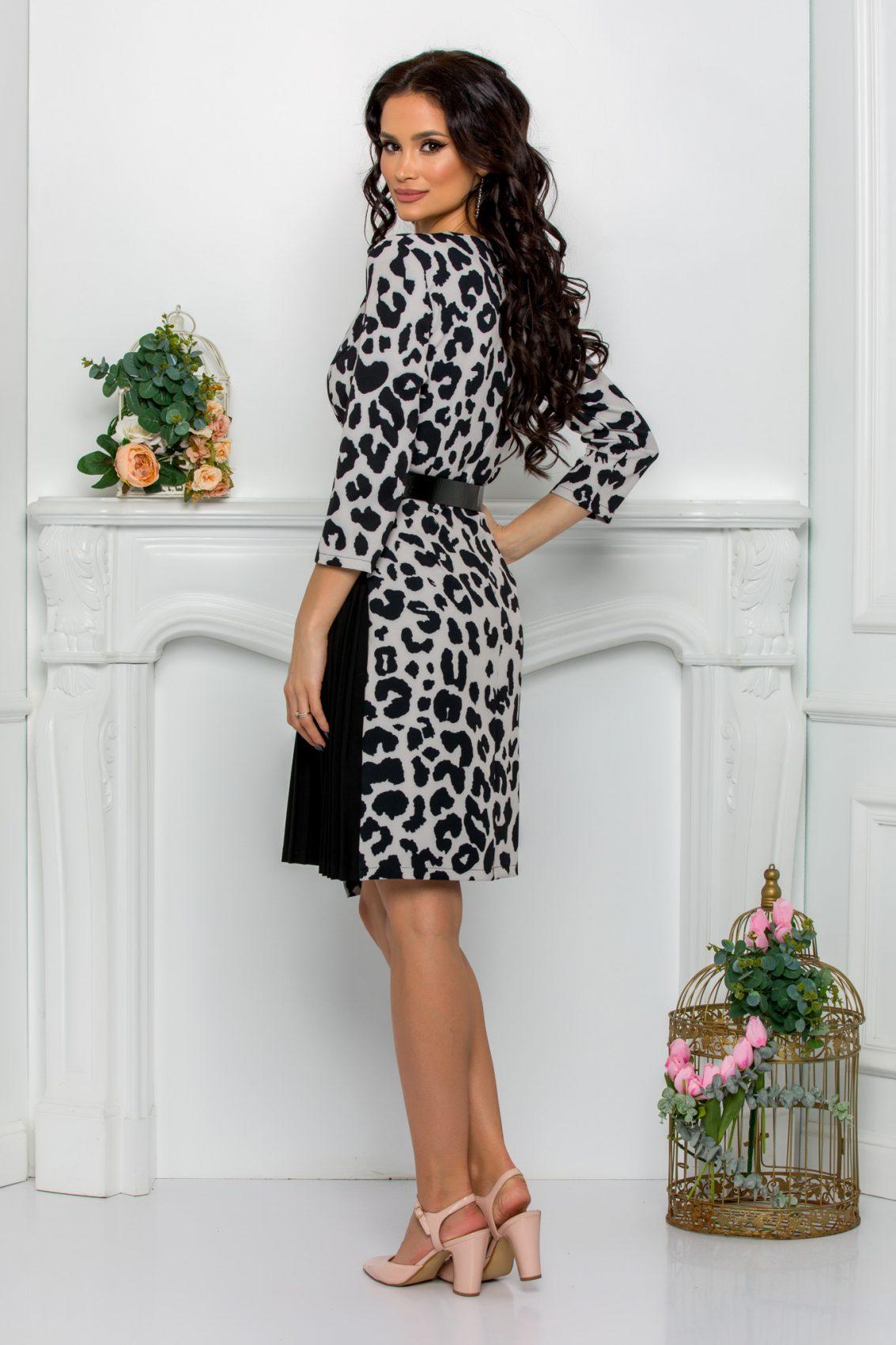 Ασπρόμαυρο Κρουαζέ Φόρεμα Jenny 8719 2