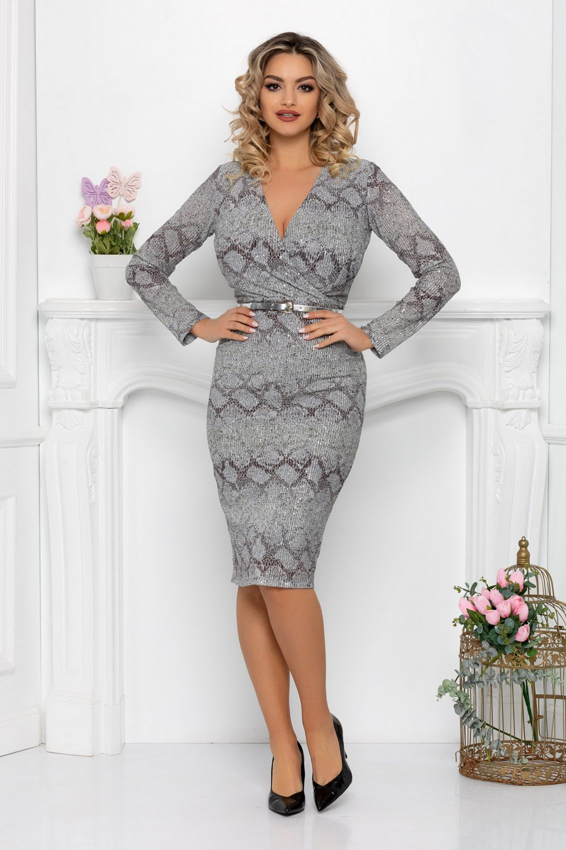 Ασημί Μίντι Φόρεμα Κρουαζέ Alline 9394 1
