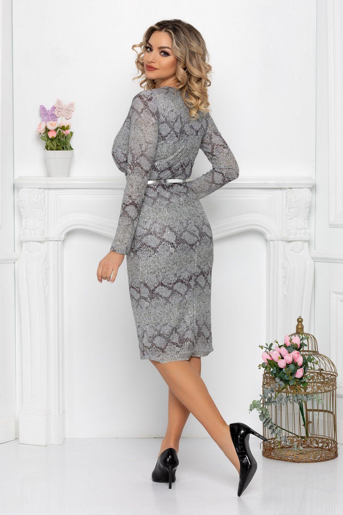 Ασημί Μίντι Φόρεμα Κρουαζέ Alline 9394 2