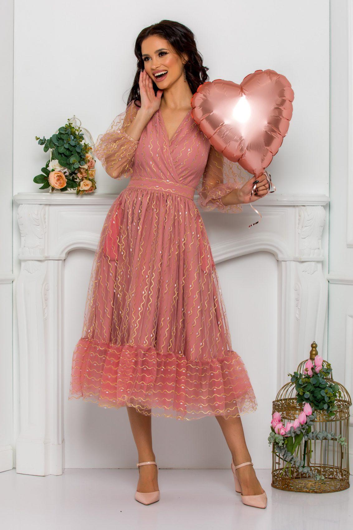 Ροζ Βραδινό Φόρεμα Ofelia 8168 1