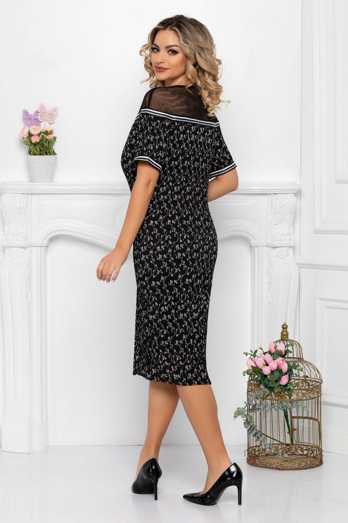 Μαύρο Φλοράλ Κοντομάνικο Πλισέ Φόρεμα Hanna 9429 2