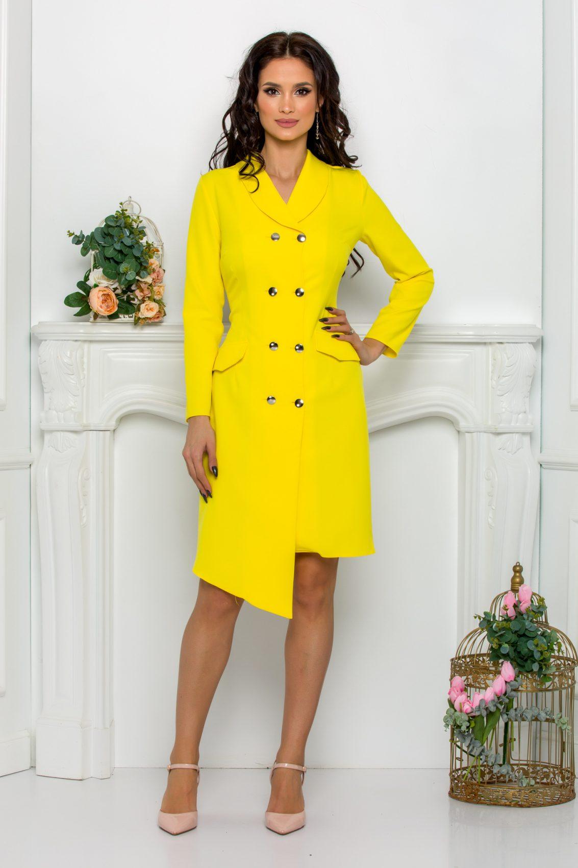 Κίτρινο Φόρεμα Με Κουμπιά Yndira 9634 1