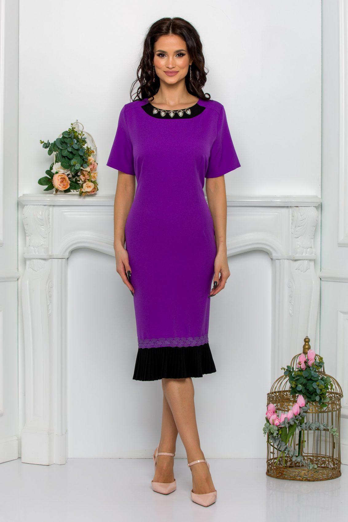 Μίντι Μωβ Φόρεμα Evolette 9506 1