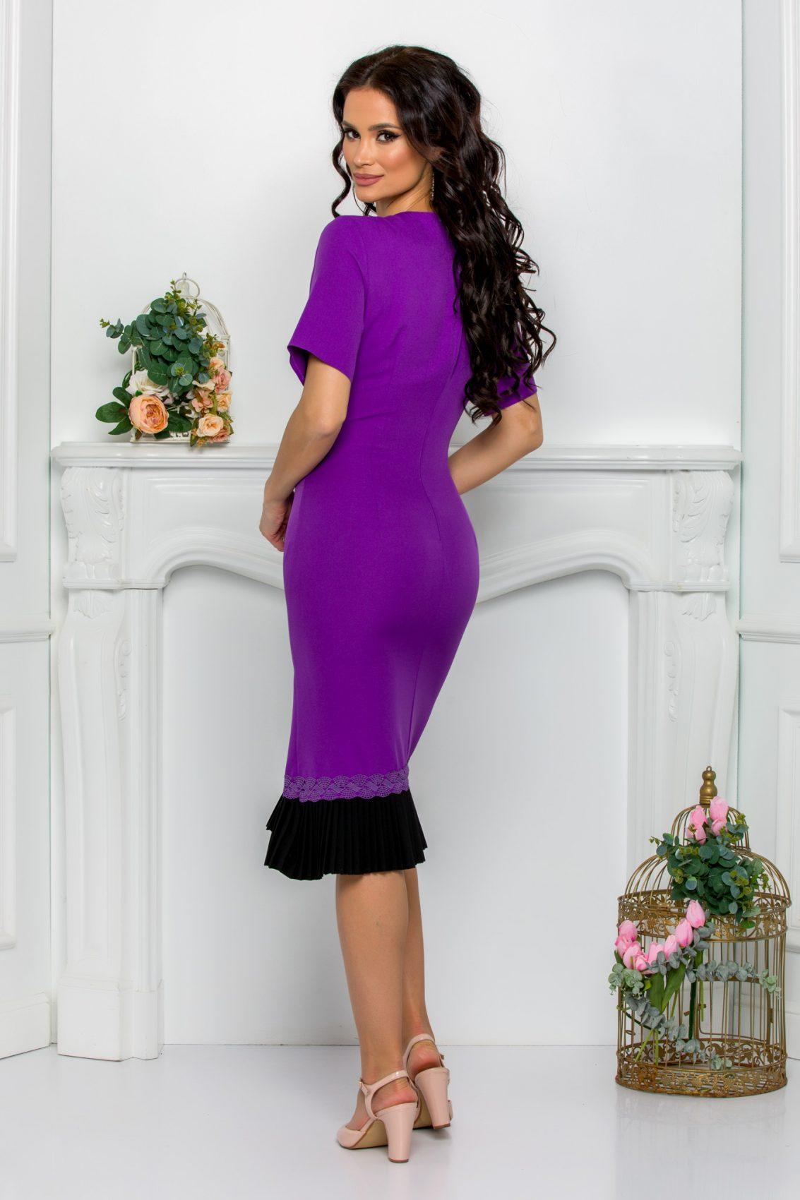 Μίντι Μωβ Φόρεμα Evolette 9506 2