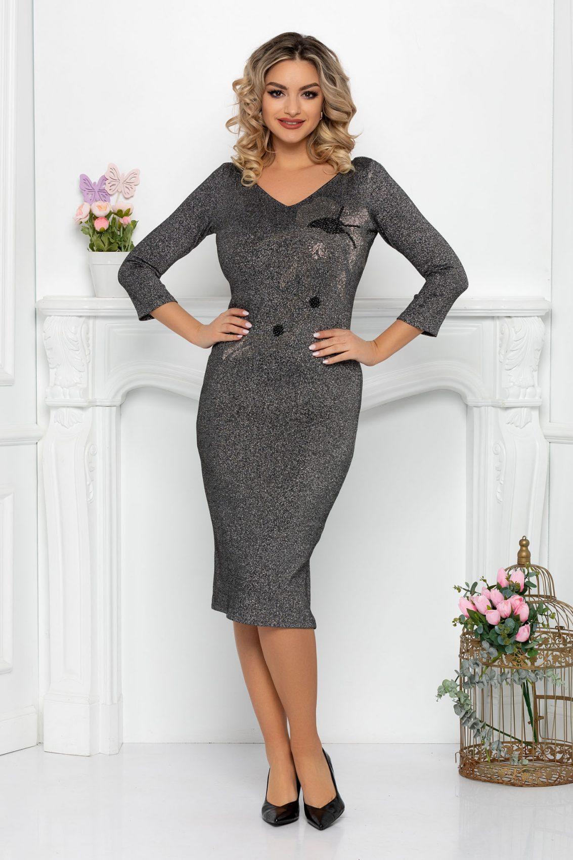 Βραδινό Γυαλιστερό Ασημί Φόρεμα Teona 9354 1