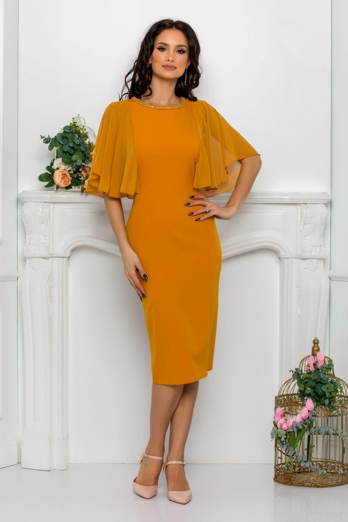 Κίτρινο Μίντι Φόρεμα Σε Πένσιλ Γραμμή Afrodita 9608 1