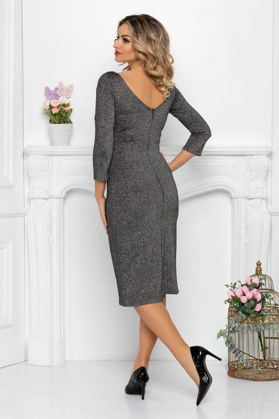 Βραδινό Γυαλιστερό Ασημί Φόρεμα Teona 9354 2