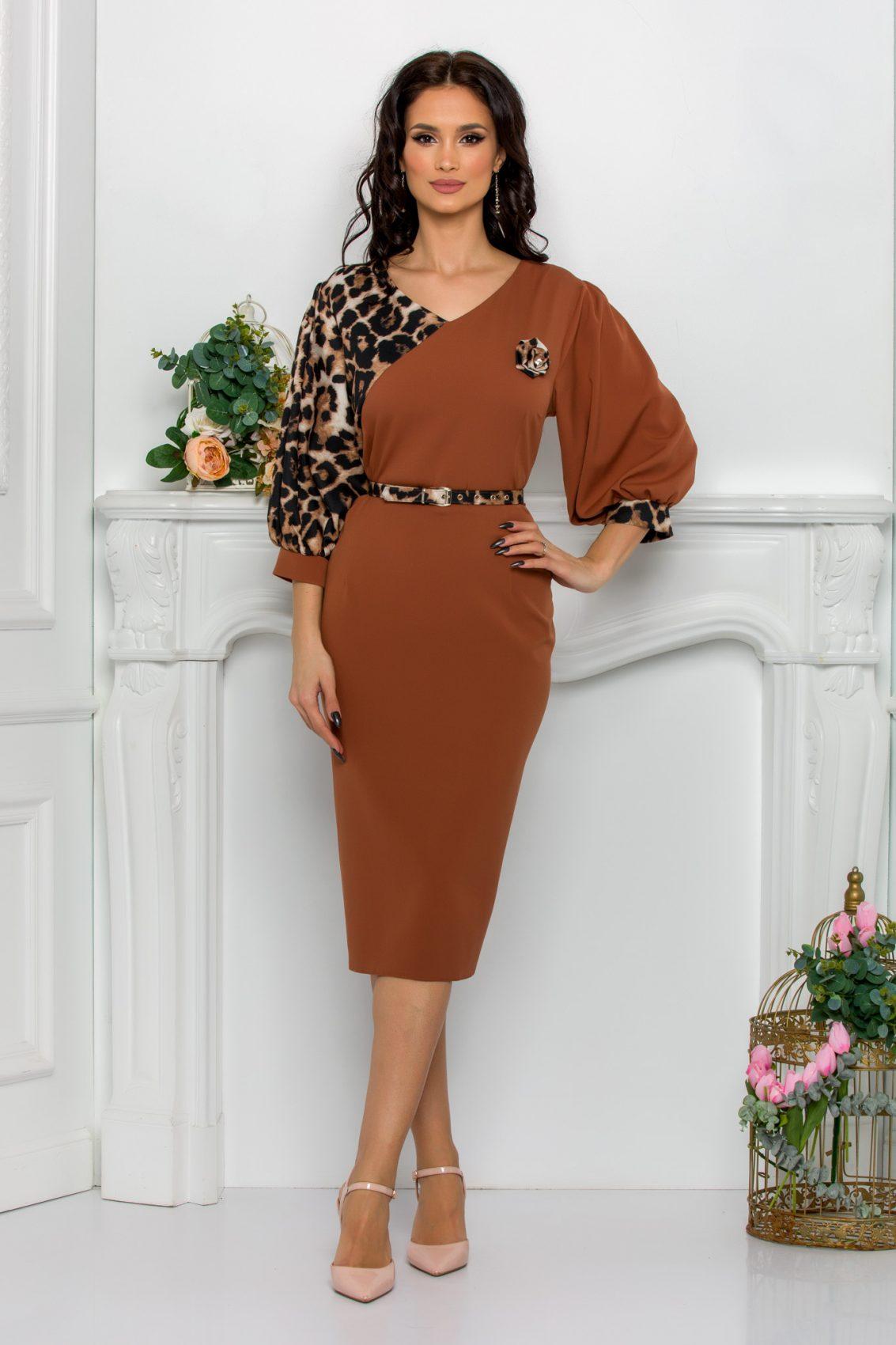 Καραμελέ Φόρεμα Με Λεοπάρ Roses 9532 1