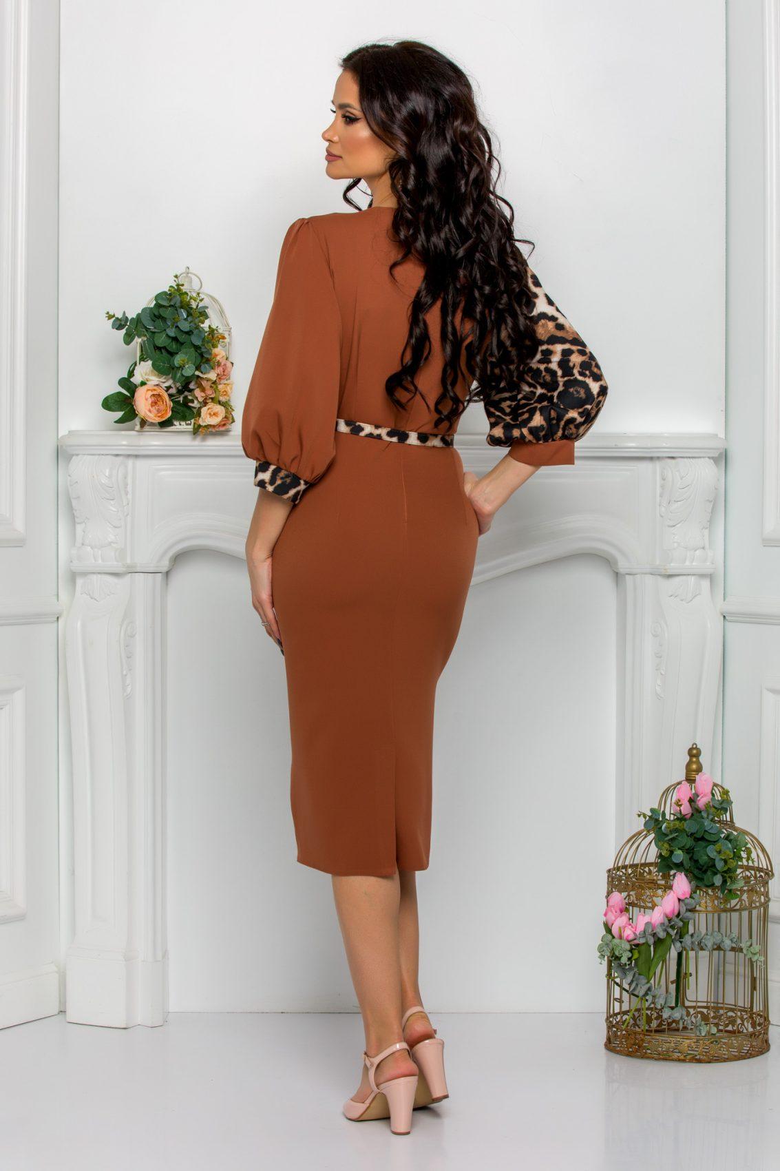 Καραμελέ Φόρεμα Με Λεοπάρ Roses 9532 2