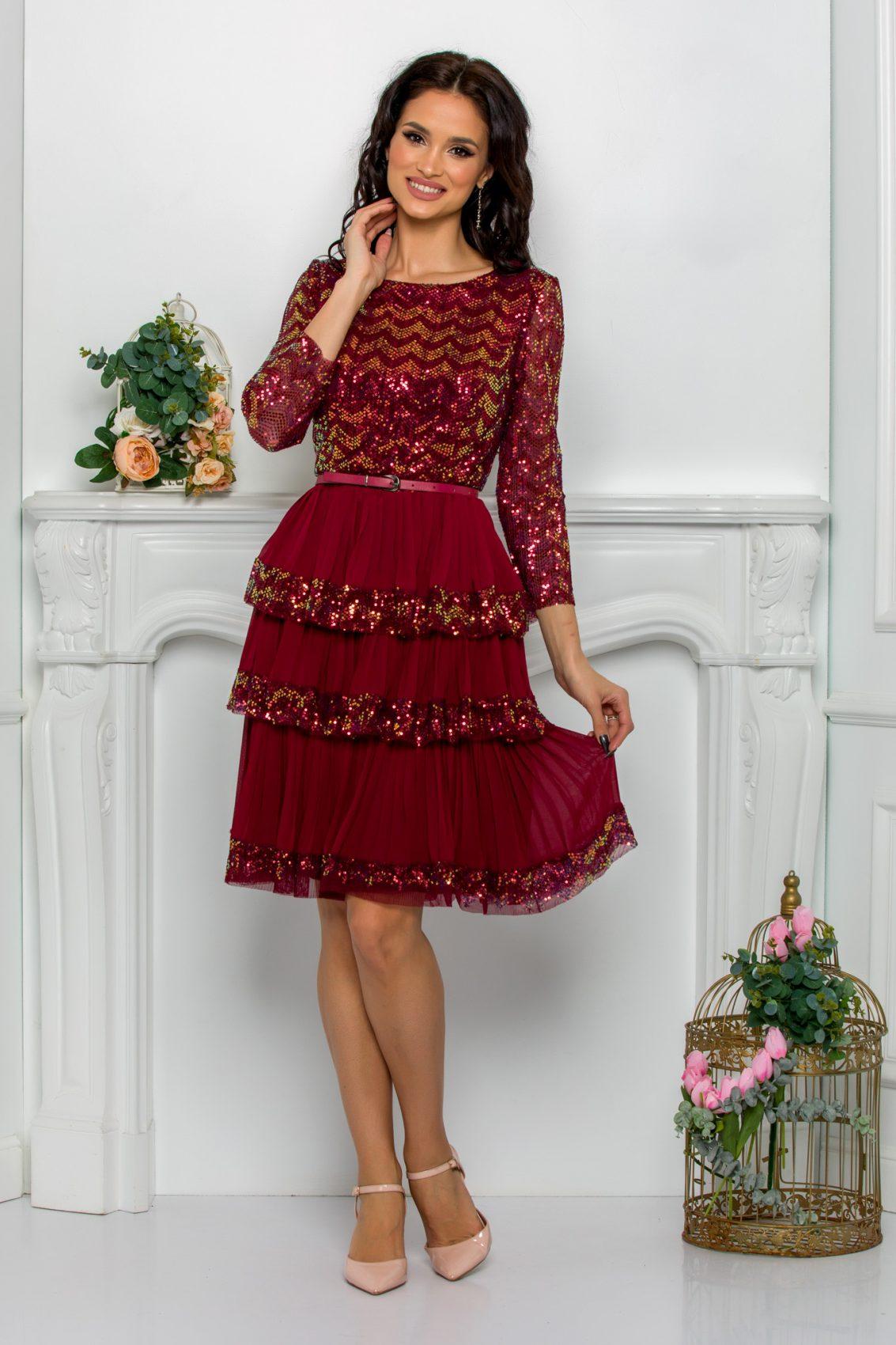 Μπορντό Βραδινό Φόρεμα Με Βολάν Cinthia 9629 1
