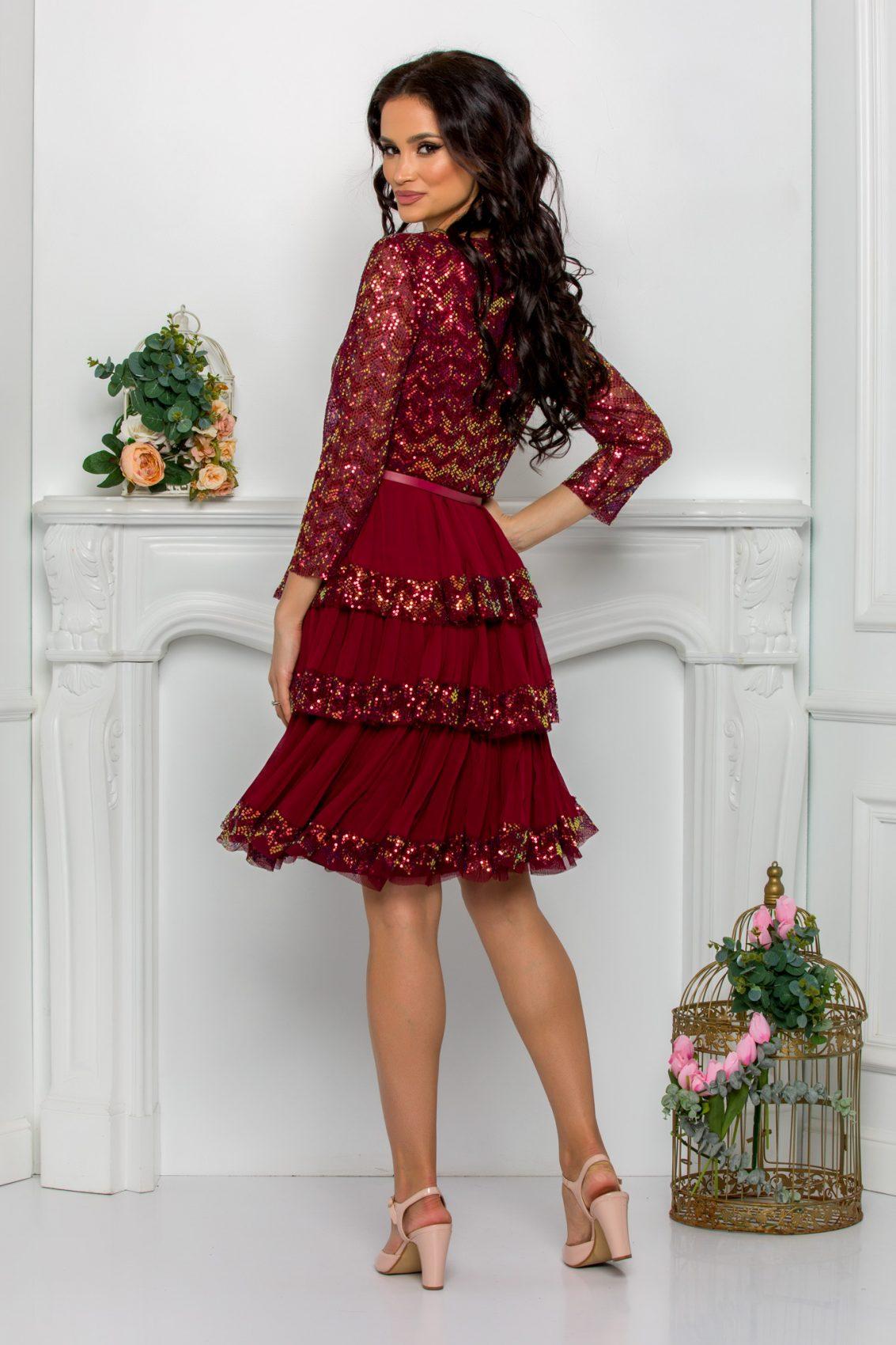 Μπορντό Βραδινό Φόρεμα Με Βολάν Cinthia 9629 2