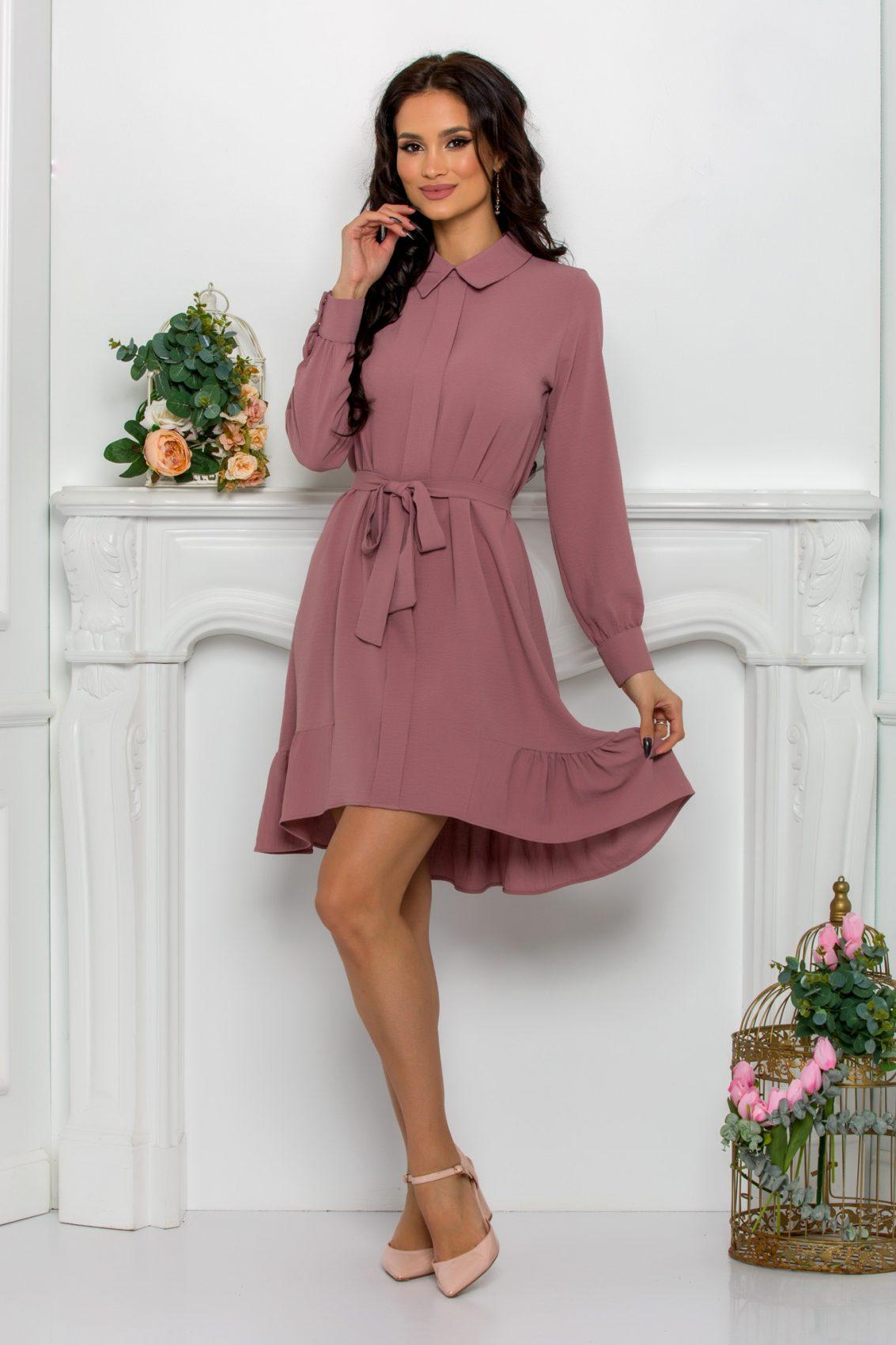 Λιλά Φόρεμα Με Βολάν Rhea 9538 1