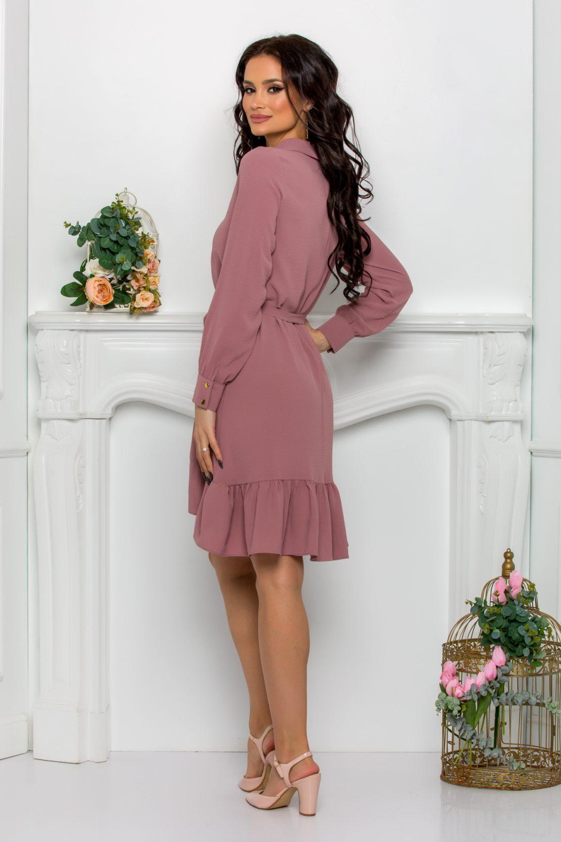 Λιλά Φόρεμα Με Βολάν Rhea 9538 2