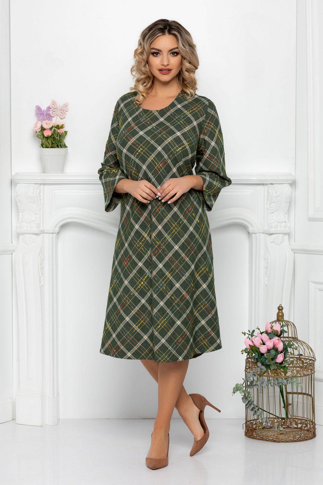 Πράσινο Μίντι Φόρεμα Plus Size Ava 9374 1