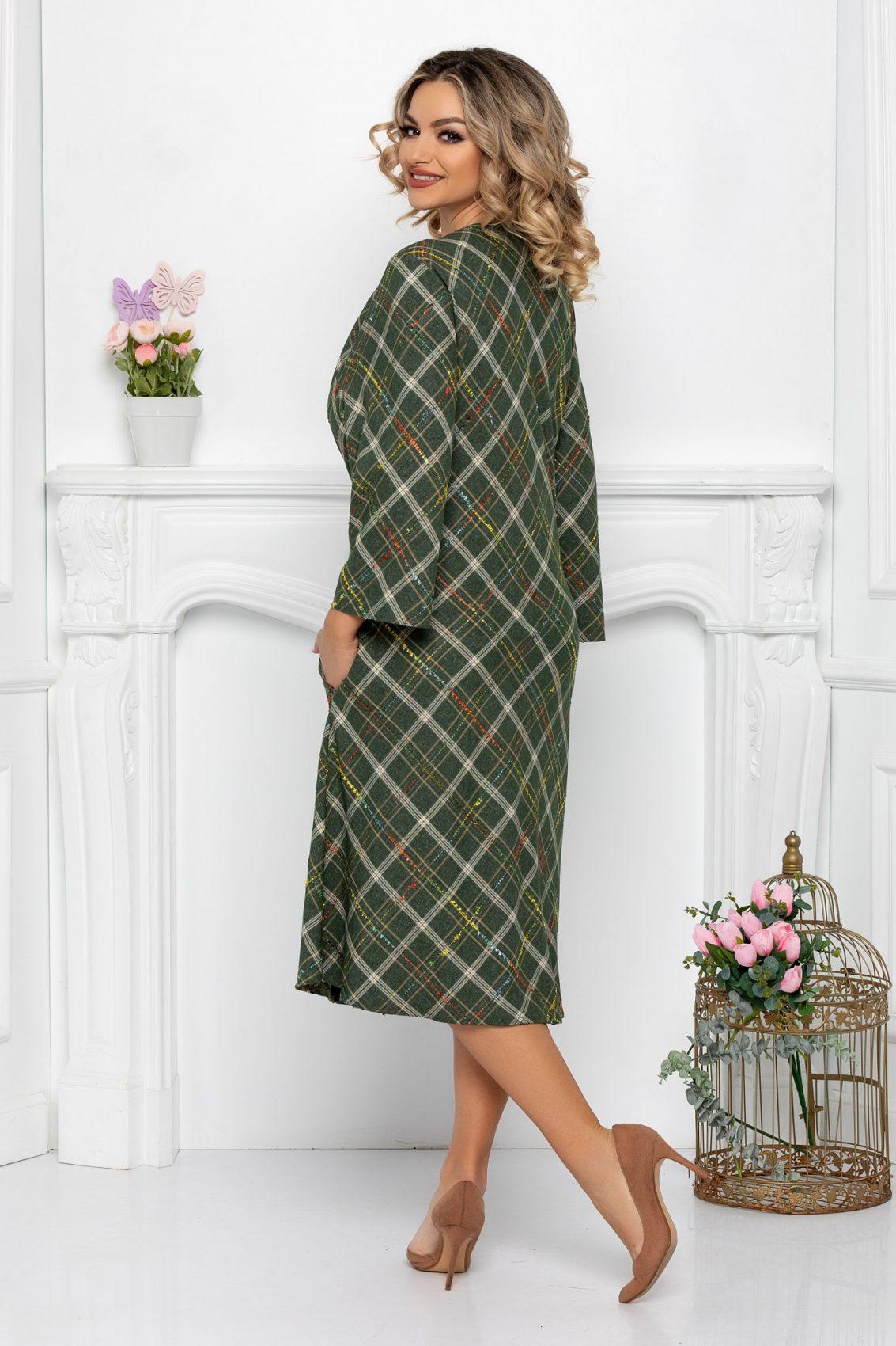 Πράσινο Μίντι Φόρεμα Plus Size Ava 9374 2