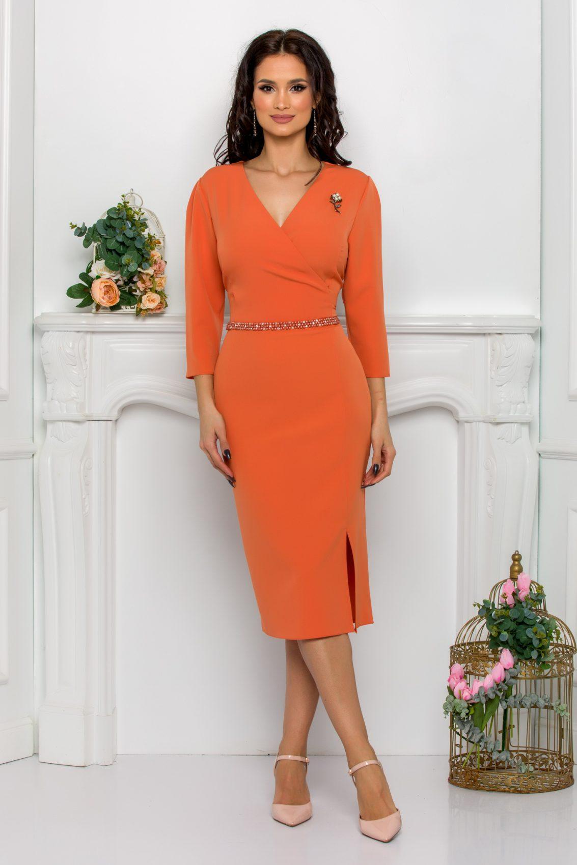 Πορτοκαλί Φόρεμα Με Πέρλες Johanna 9548 1