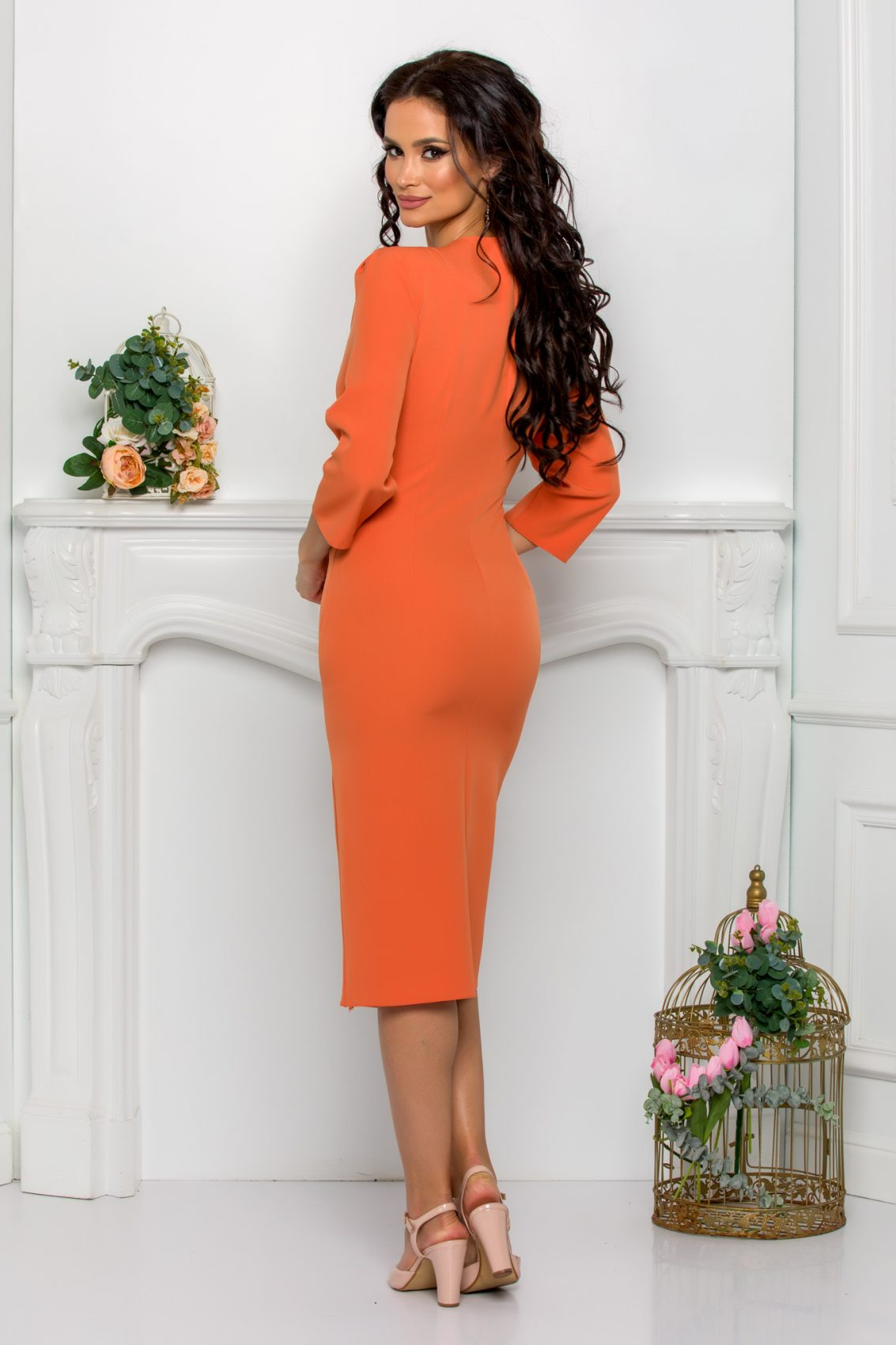 Πορτοκαλί Φόρεμα Με Πέρλες Johanna 9548 2