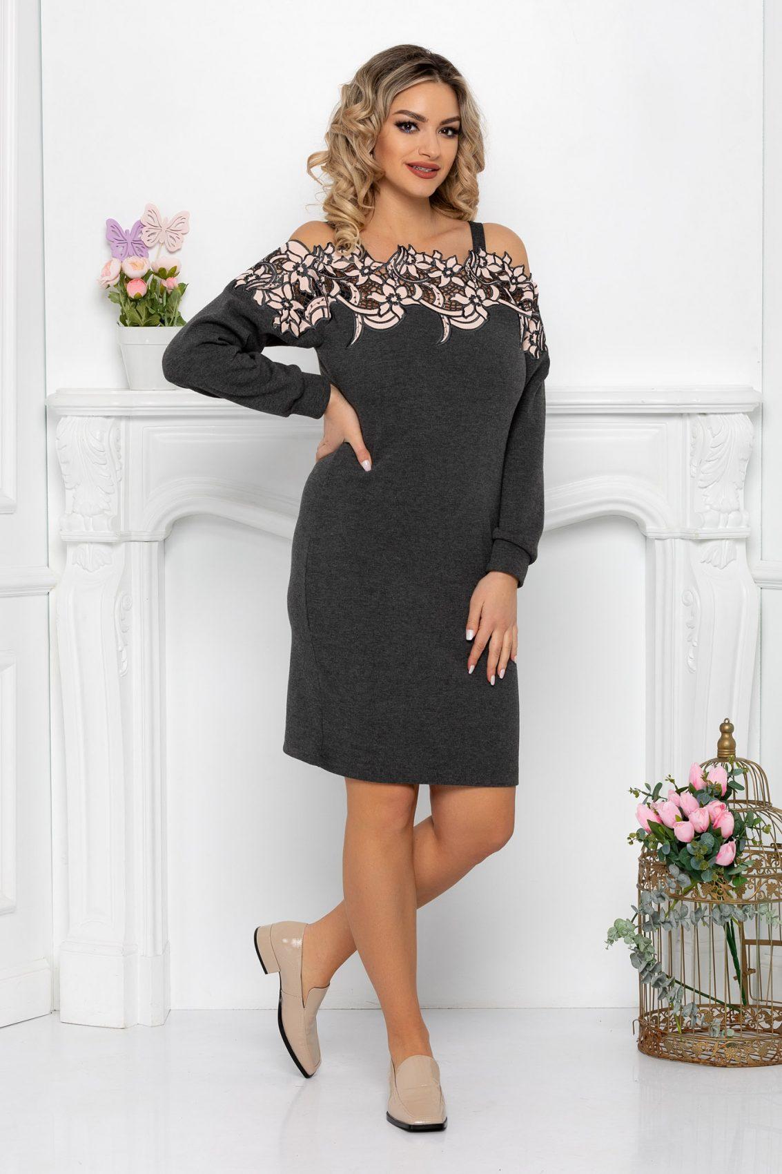 Γκρι Πλεκτό Φόρεμα Με Δαντέλα Kora 9341 1