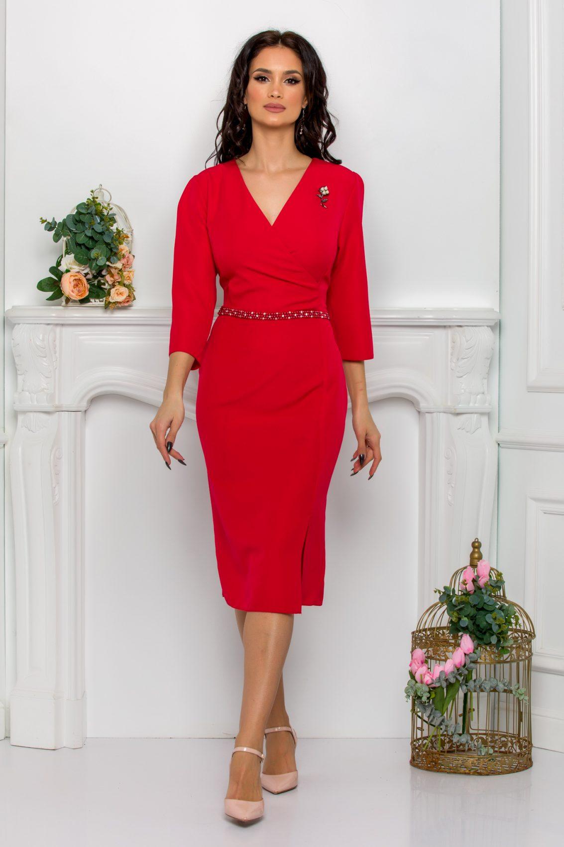 Κόκκινο Φόρεμα Με Πέρλες Johanna 9545 1