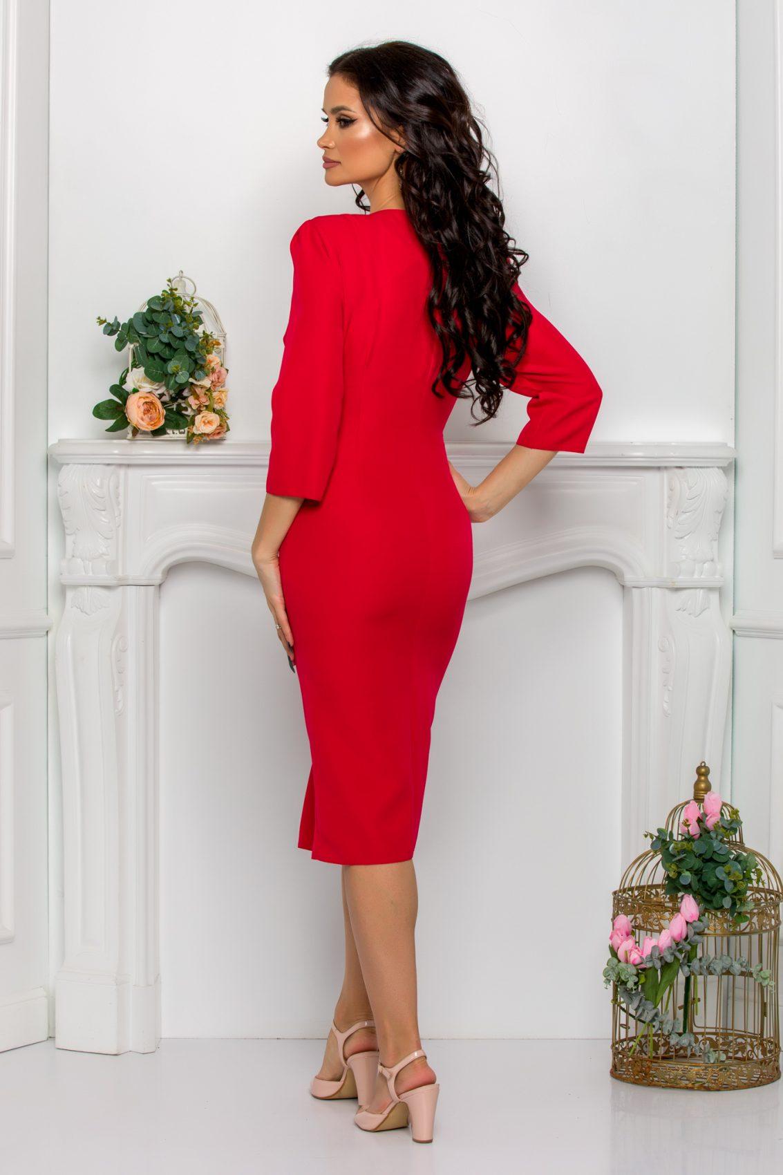 Κόκκινο Φόρεμα Με Πέρλες Johanna 9545 2