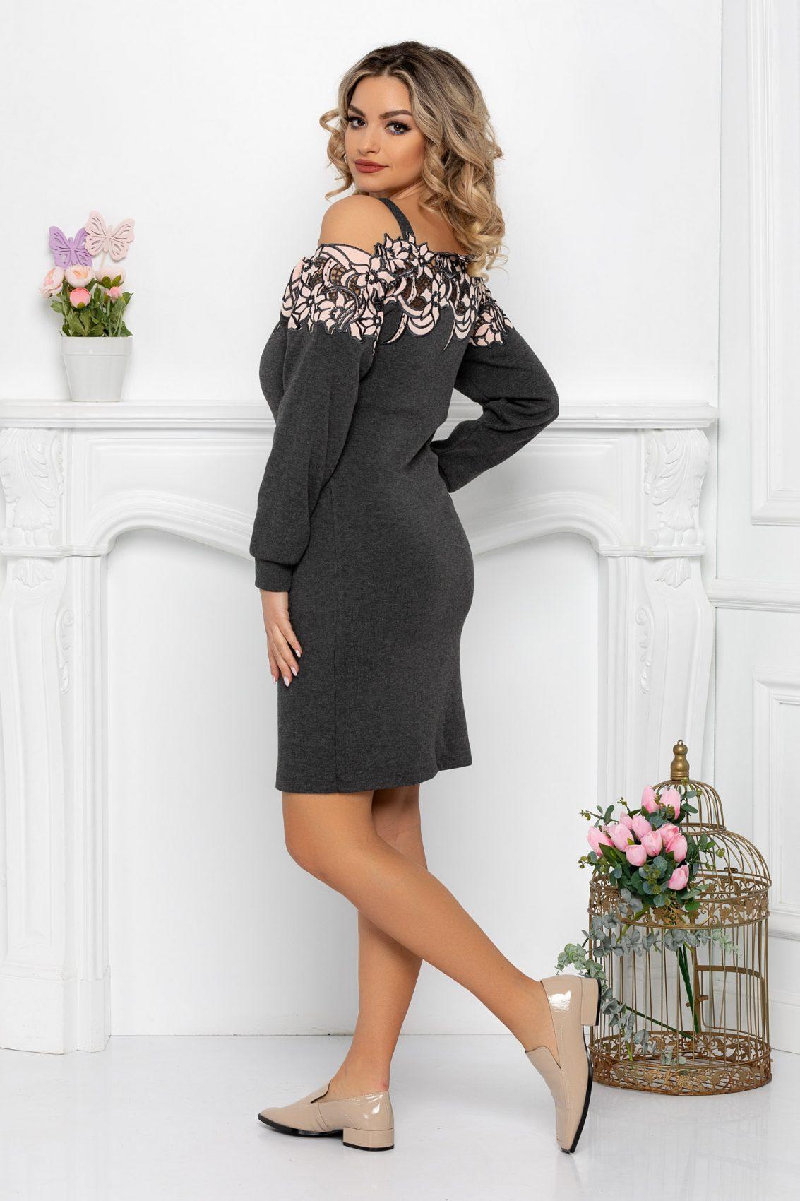 Γκρι Πλεκτό Φόρεμα Με Δαντέλα Kora 9341 2