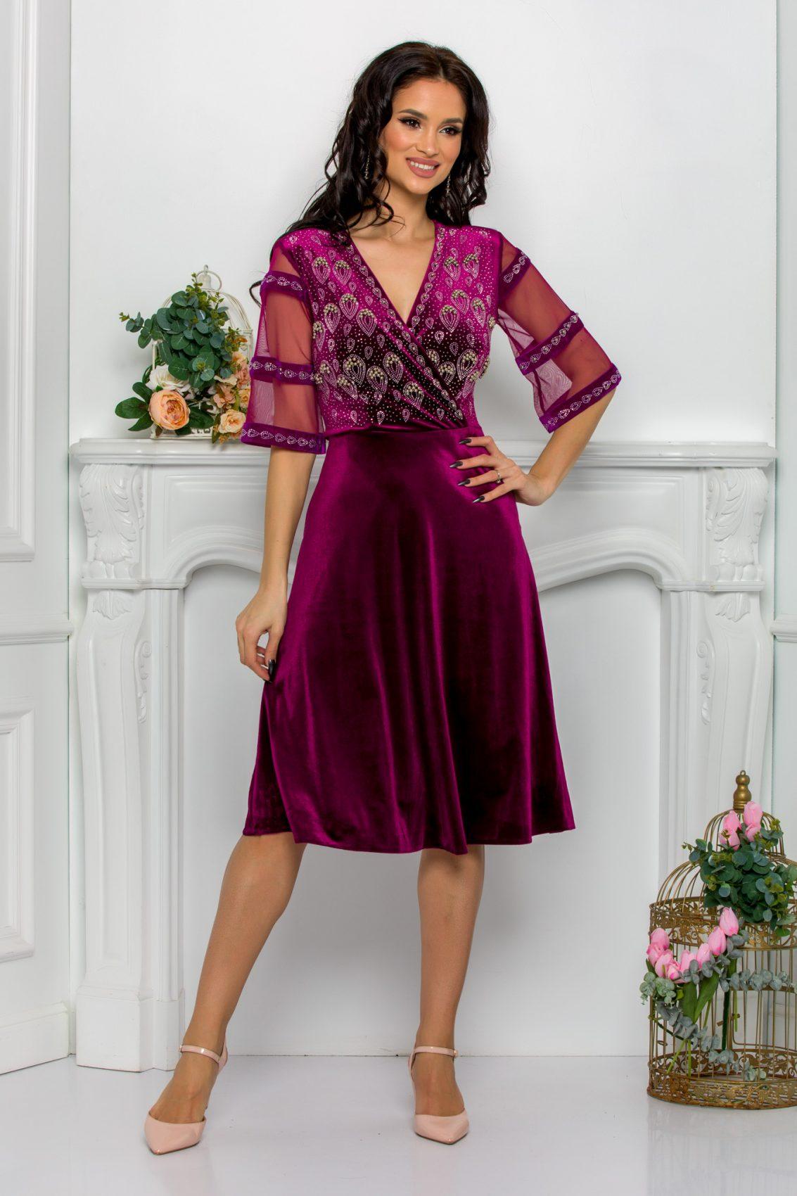 Βιολετί Φόρεμα Με Στρας Από Βελούδο Leticia 9509 1