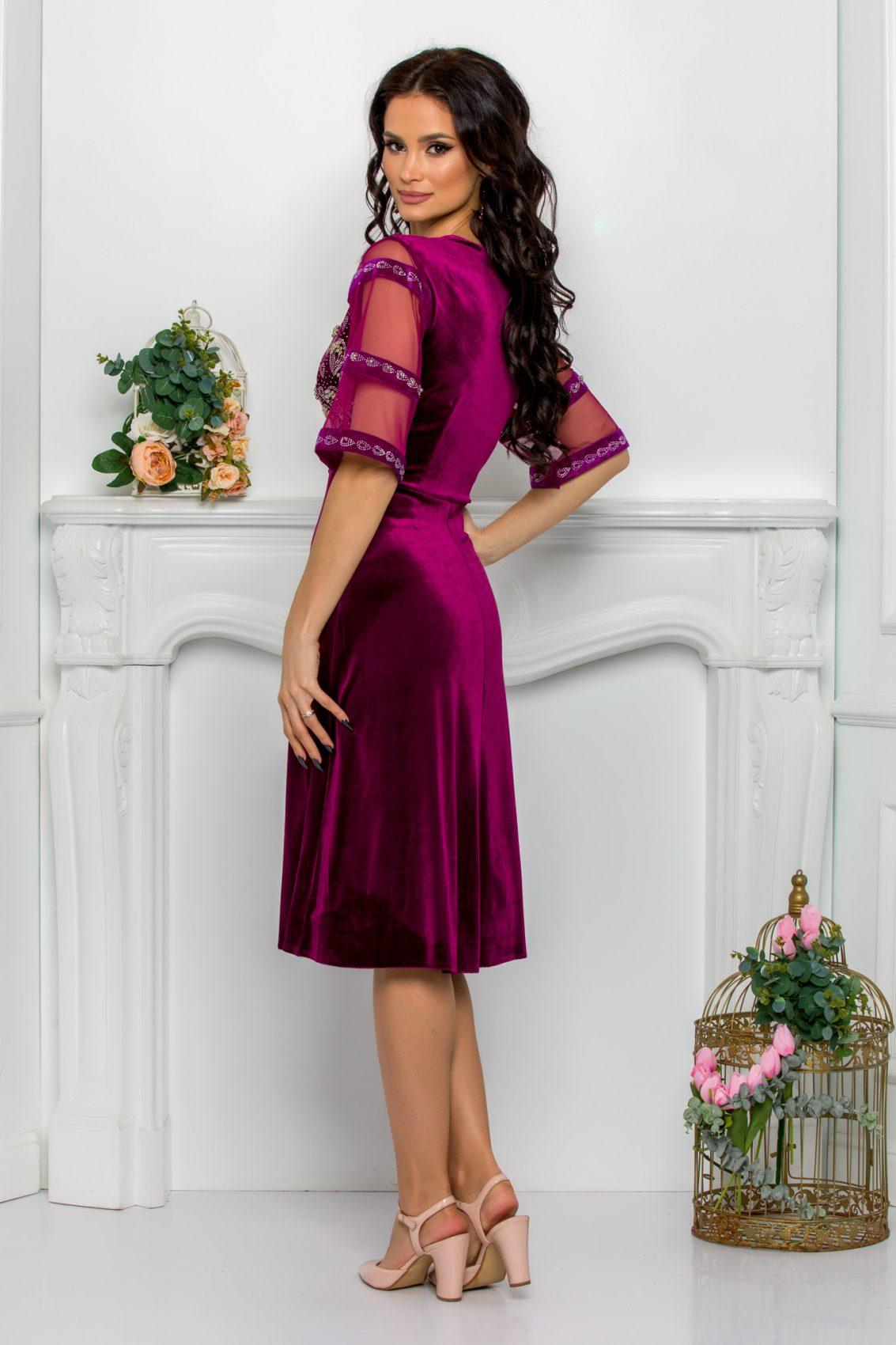 Βιολετί Φόρεμα Με Στρας Από Βελούδο Leticia 9509 2