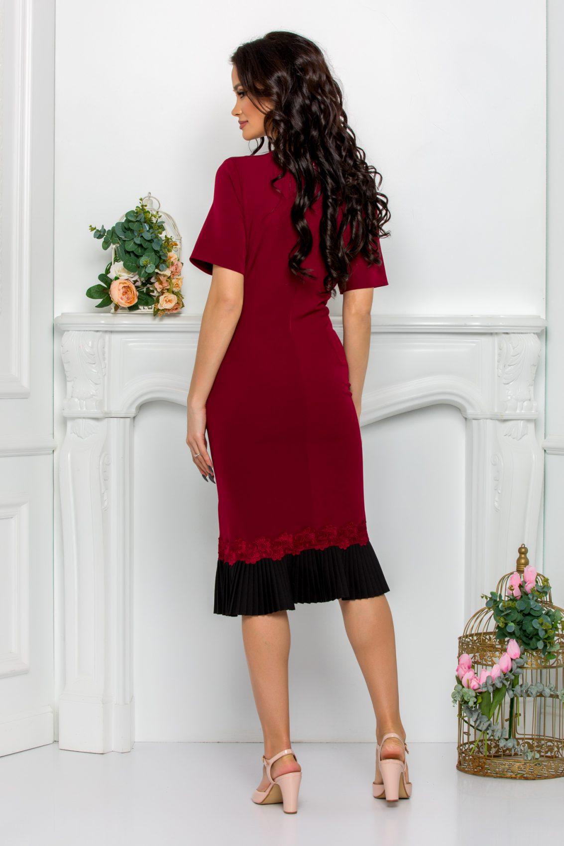 Μπορντό Μίντι Φόρεμα Evolette 9507 2