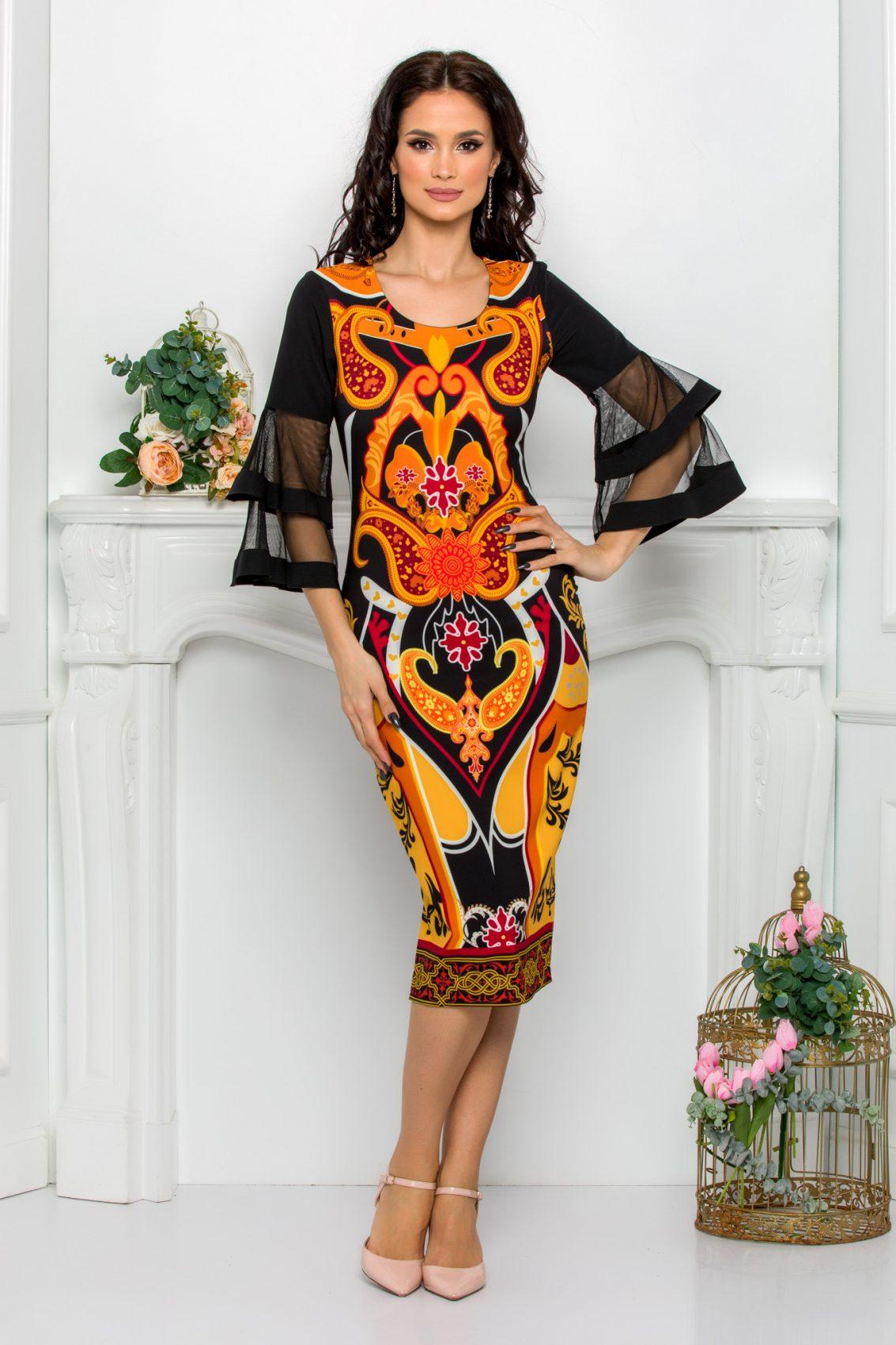 Πορτοκαλί Μίντι Φόρεμα Σε Πένσιλ Γραμμή Eva 9535 1