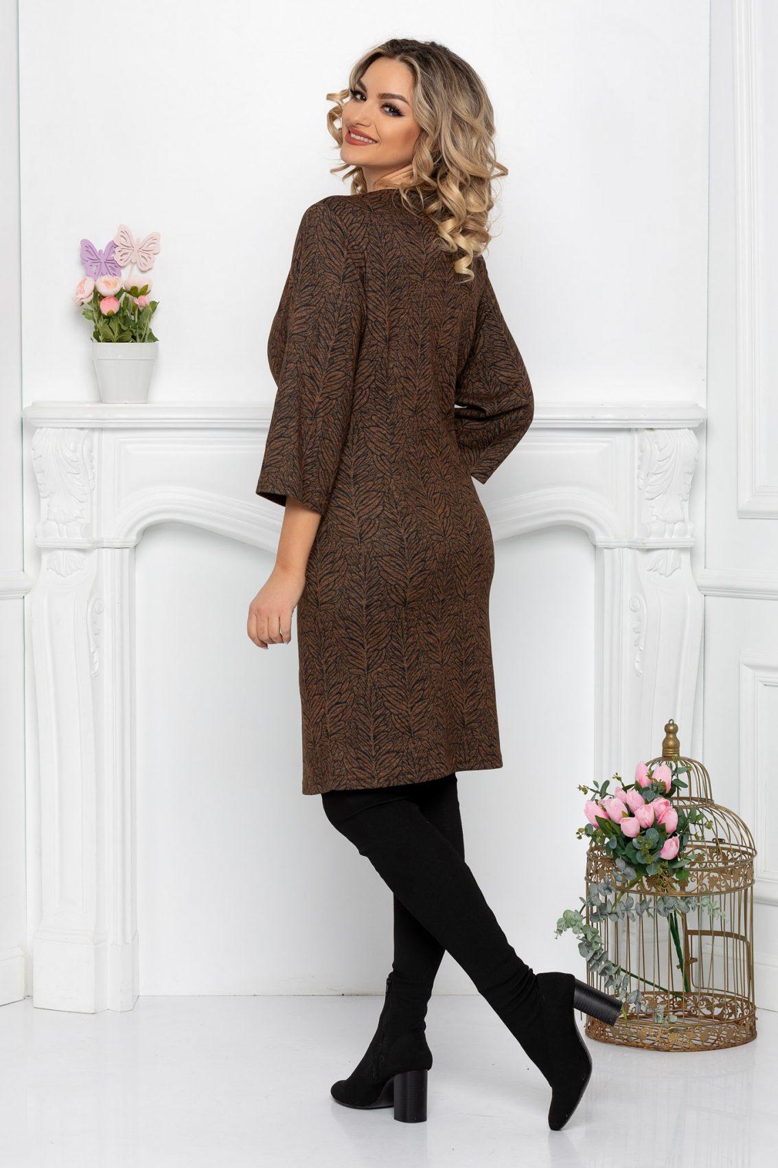 Καφέ Πλεκτό Φόρεμα Ilaria 9349 2