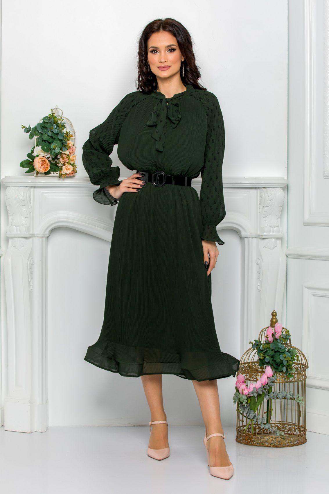 Μίντι Πράσινο Φόρεμα Με Φιόγκο Trinity 9630 1