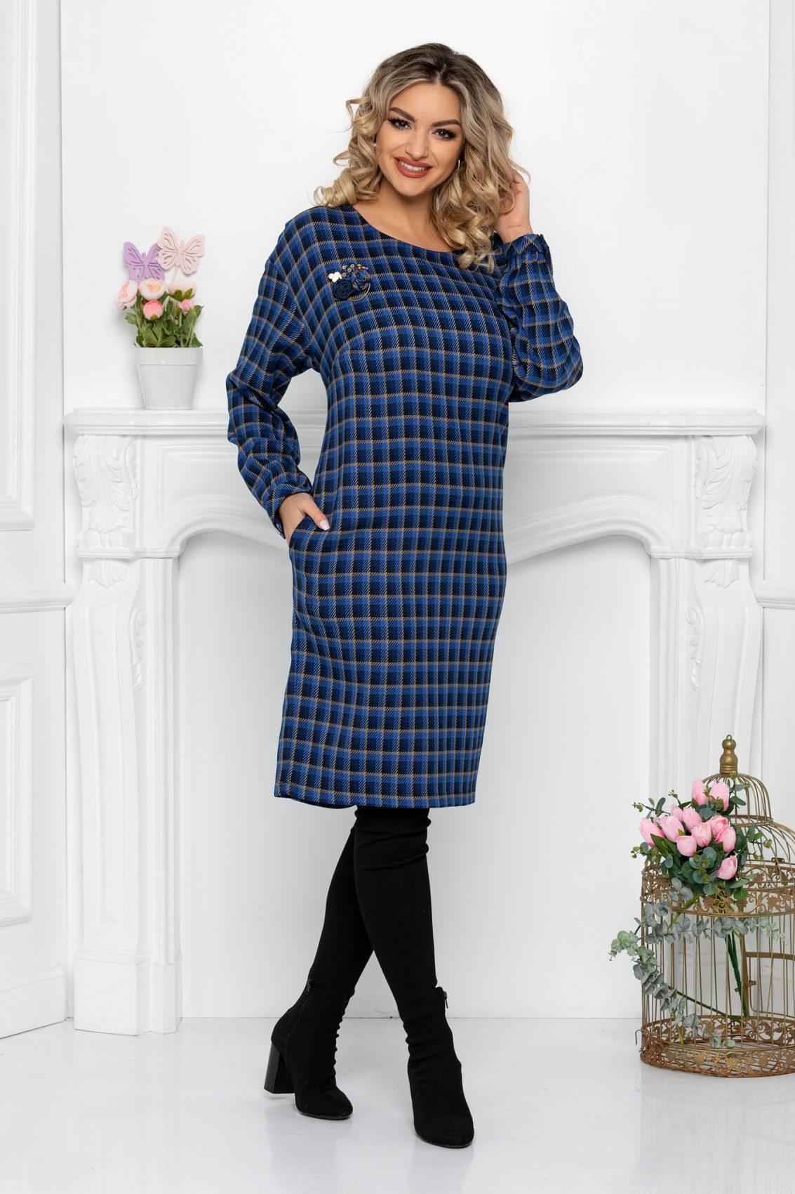 Μπλε Καρό Φόρεμα Aryna 9406 1