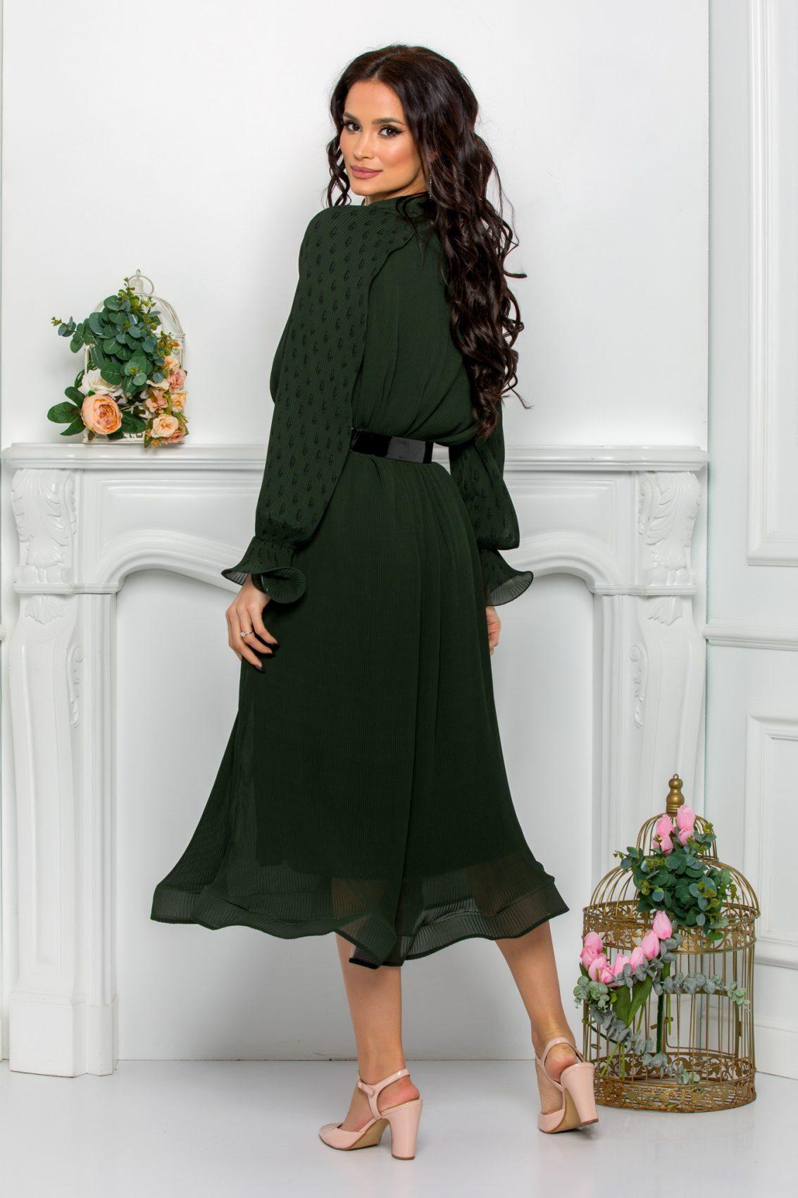 Μίντι Πράσινο Φόρεμα Με Φιόγκο Trinity 9630 2