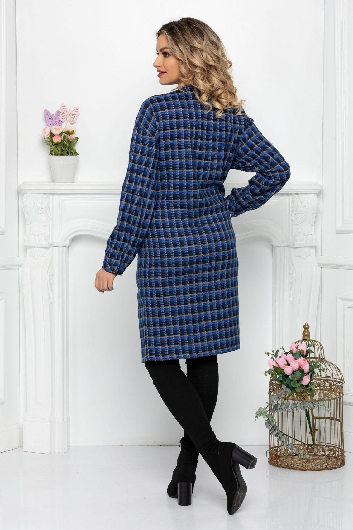 Μπλε Καρό Φόρεμα Aryna 9406 2