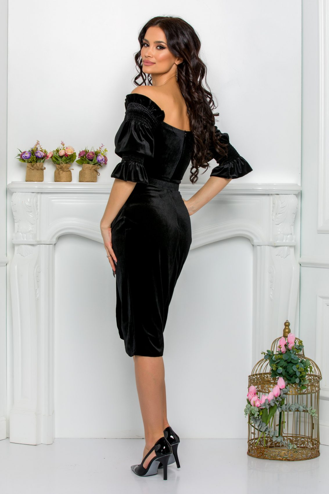 Μαύρο Κρουαζέ Φόρεμα Με Ζώνη Emira 8856 2