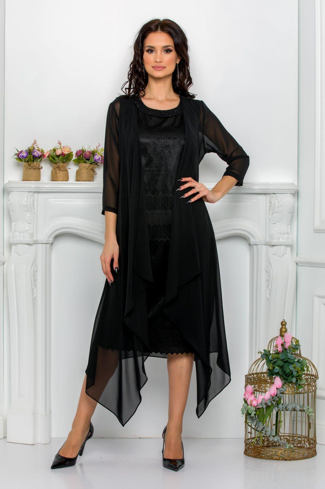 Μαύρο Φόρεμα Με Ασύμμετρο Μπολερό Georgina 9516 1