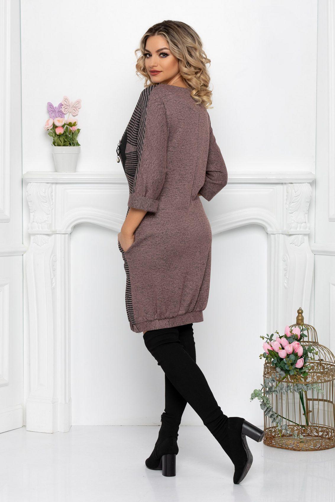 Ροζ Πλεκτό Ριγέ Φόρεμα Plus Size Nisha 9428 2