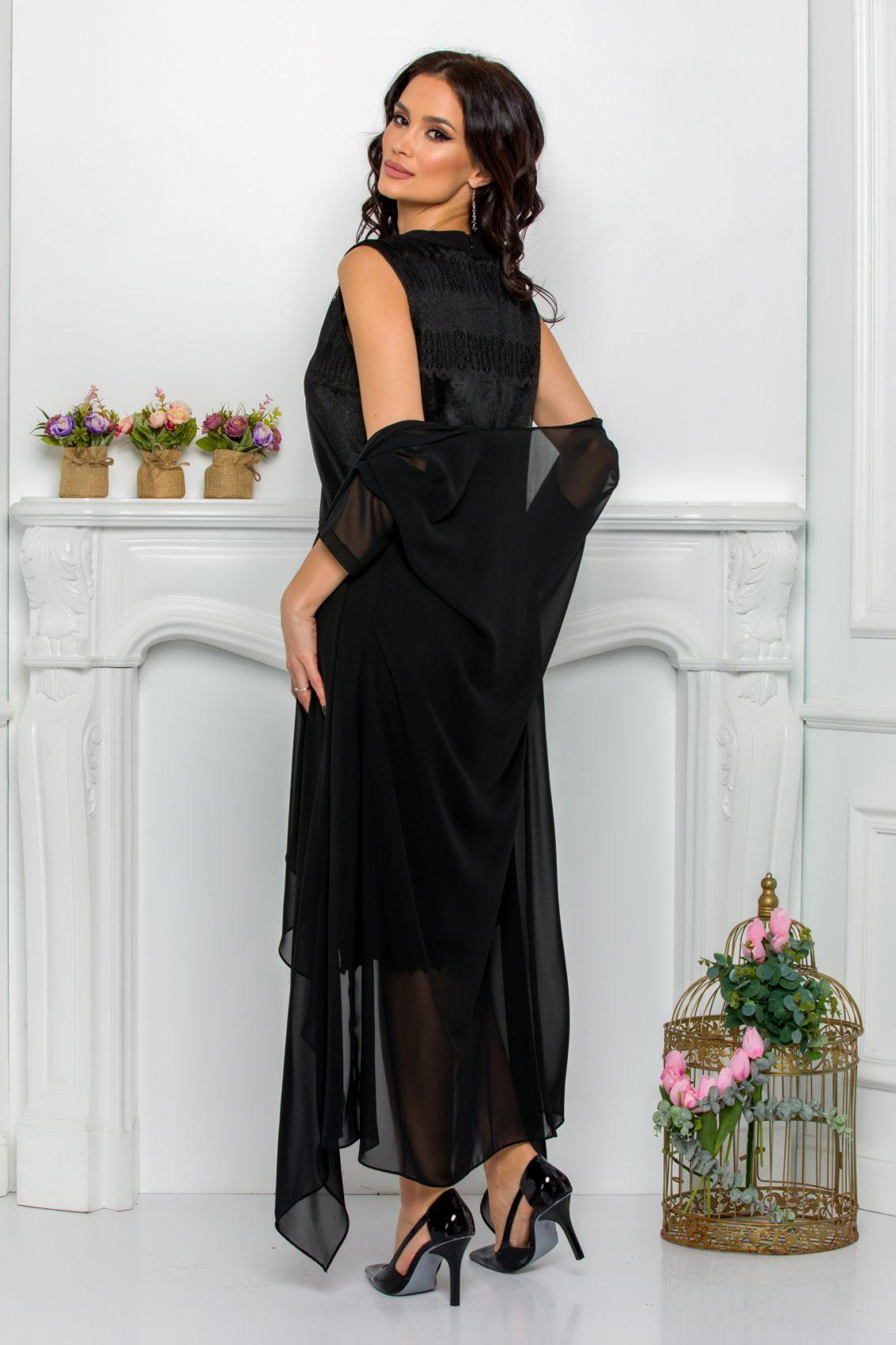 Μαύρο Φόρεμα Με Ασύμμετρο Μπολερό Georgina 9516 2
