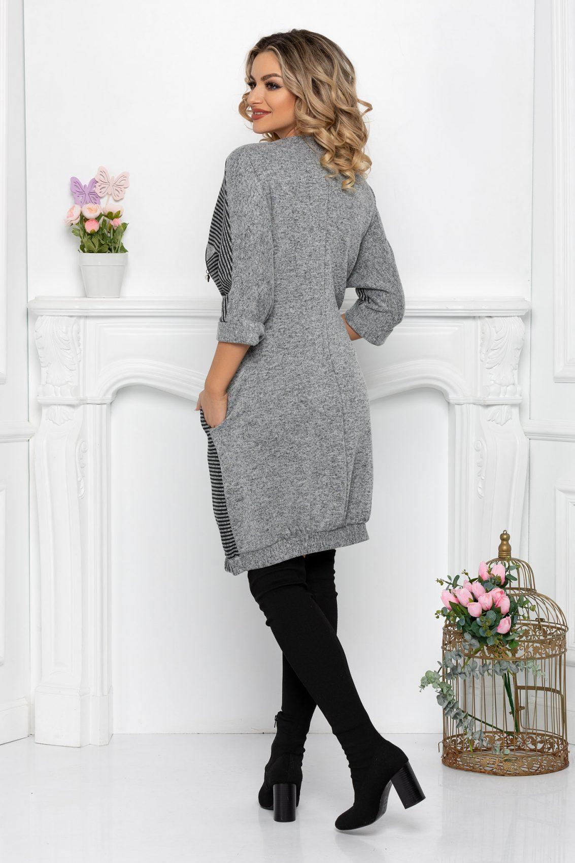 Γκρι Πλεκτό Ριγέ Φόρεμα Plus Size Nisha 9427 2