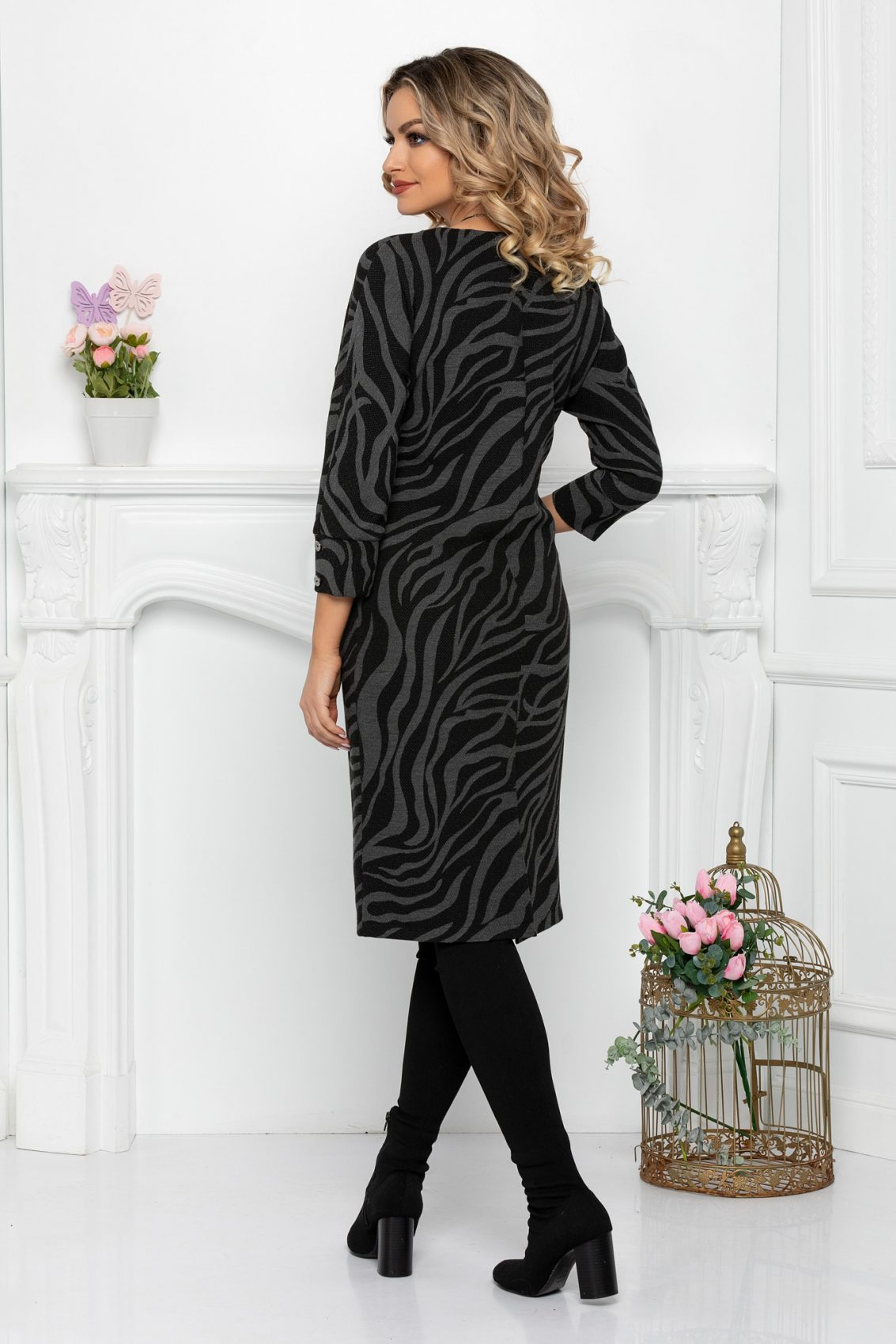 Μαύρο Πλεκτό Φόρεμα Tamisha 9365 2