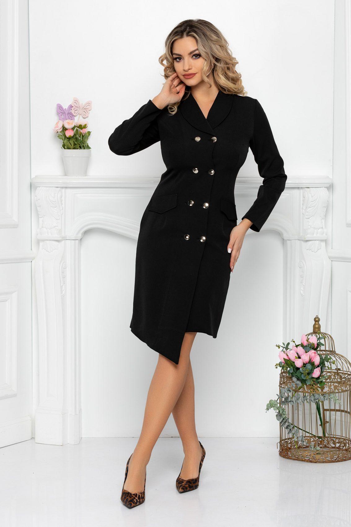 Μαύρο Φόρεμα Με Κουμπιά Yndira 9444 1