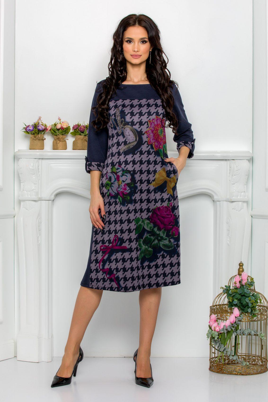 Πετρόλ Μίντι Φόρεμα Plus Size Selma 9555 1