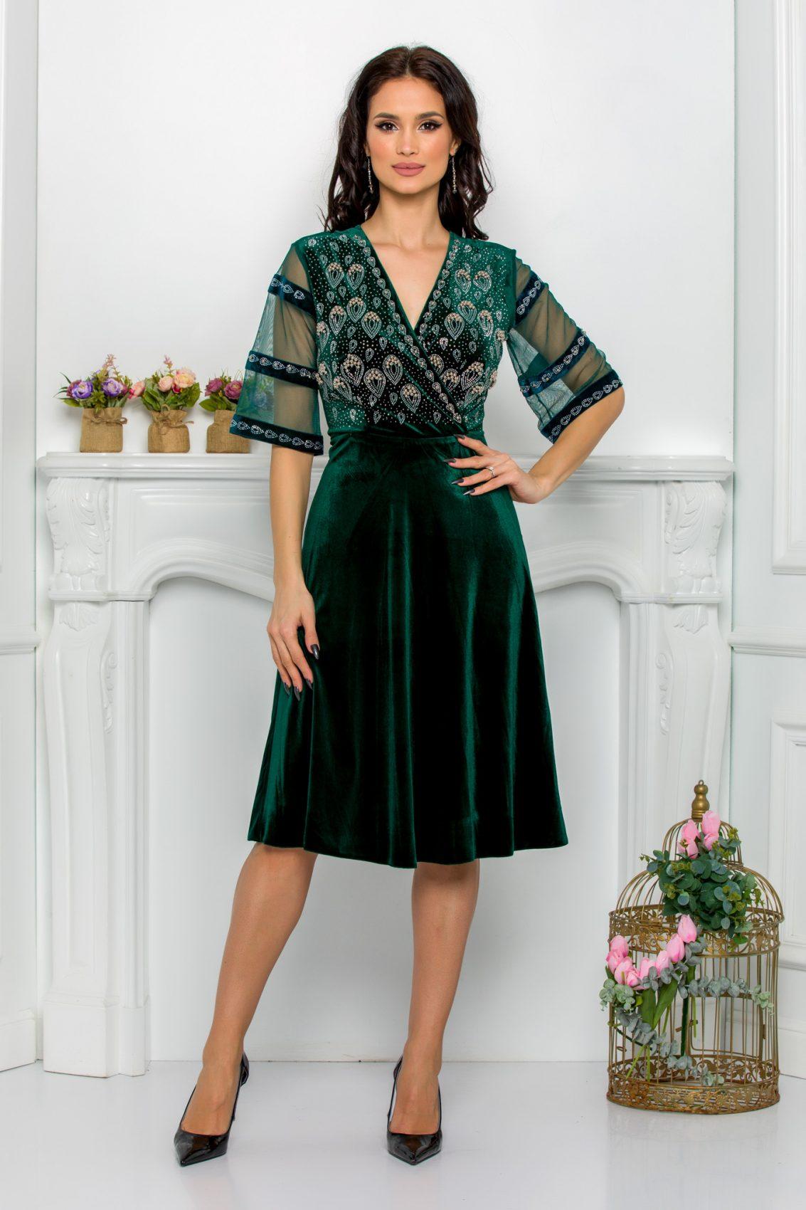 Πράσινο Φόρεμα Με Στρας Από Βελούδο Leticia 9510 1