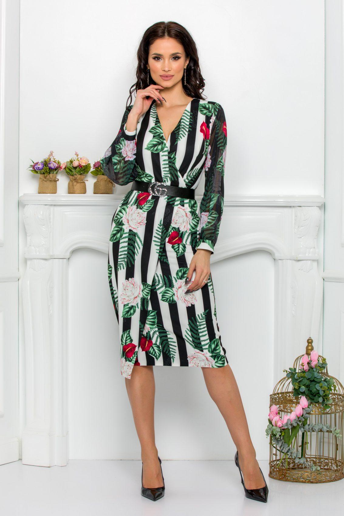 Πράσινο Φλοράλ Μακρυμάνικο Φόρεμα Με Ζώνη Loretta 9512 1