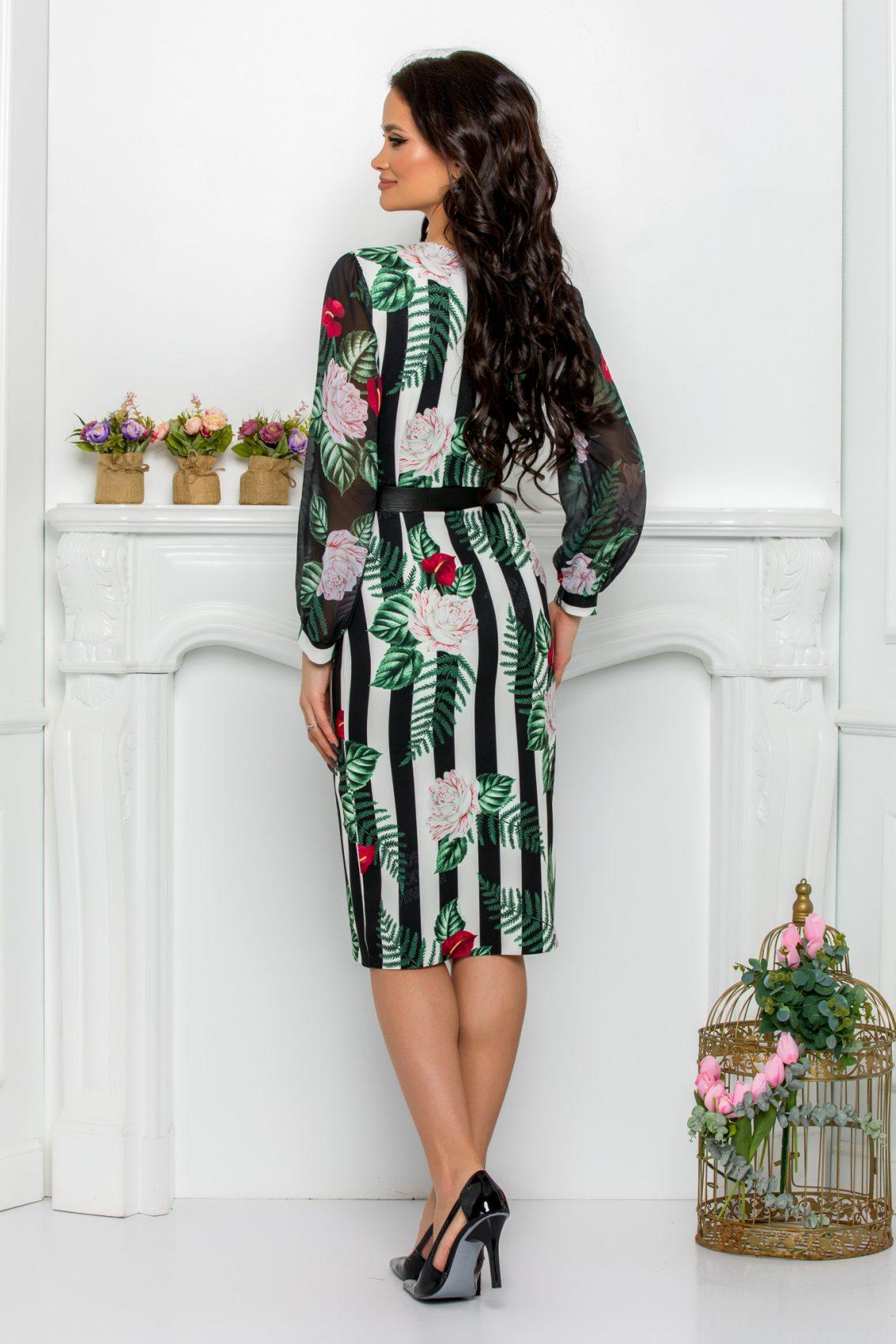 Πράσινο Φλοράλ Μακρυμάνικο Φόρεμα Με Ζώνη Loretta 9512 2