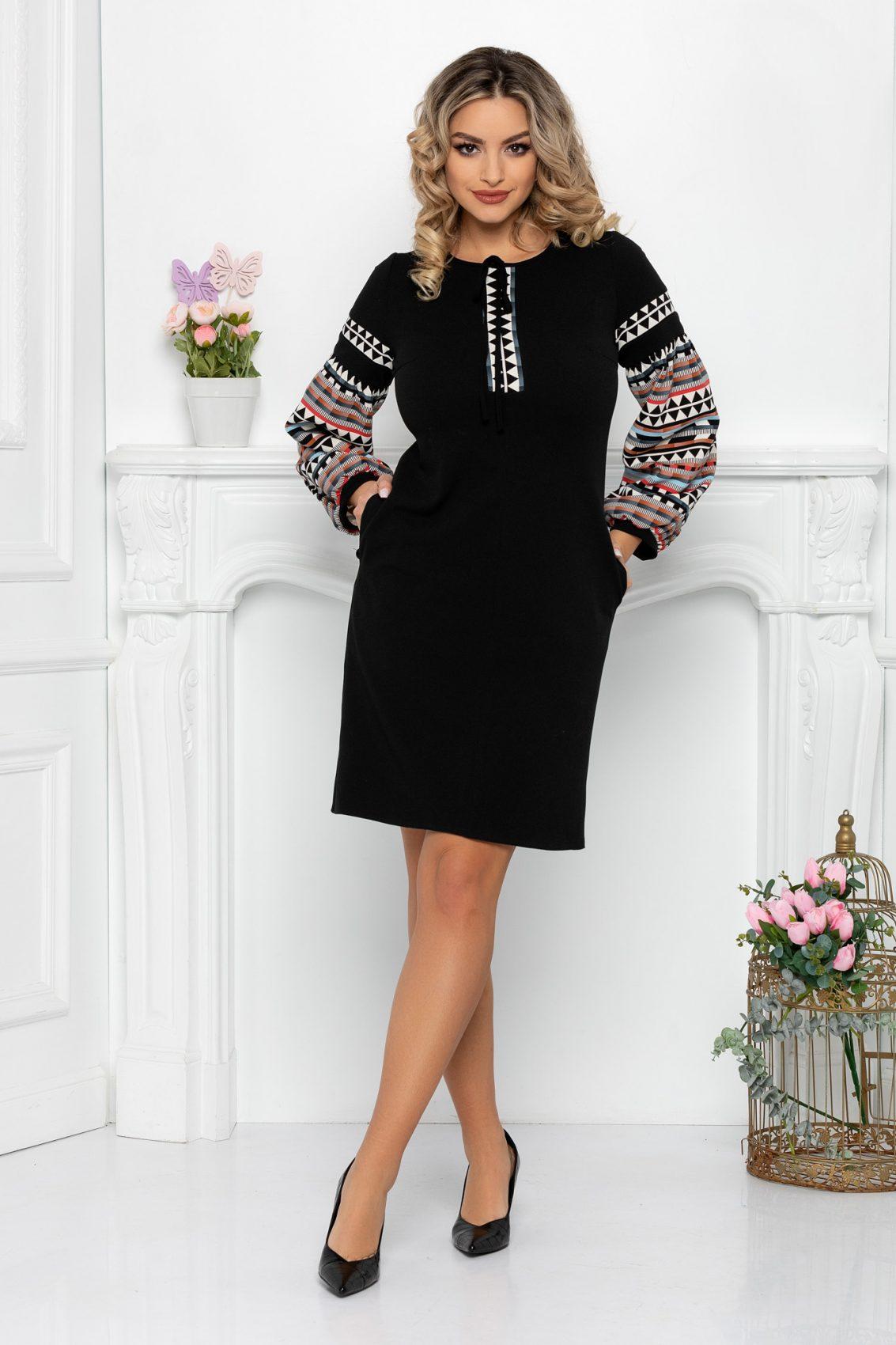 Μαύρο Μακρυμάνικο Φόρεμα Levia 9457 1