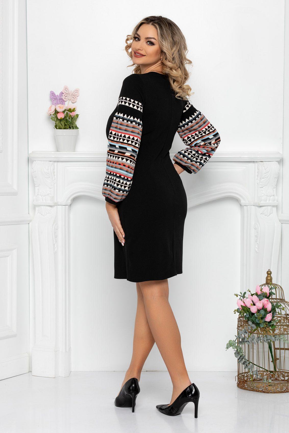 Μαύρο Μακρυμάνικο Φόρεμα Levia 9457 2